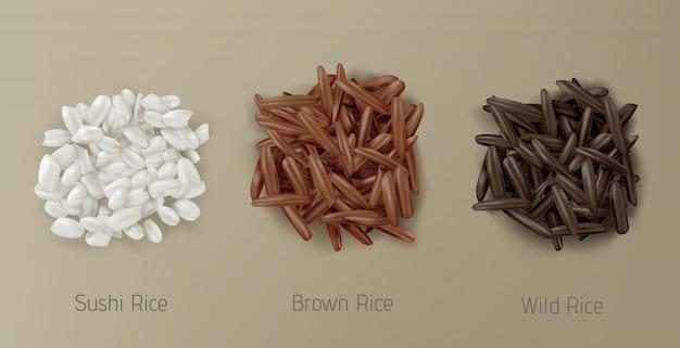 Ryżowy suszi, brown i dzikiego stosu zbożowy widok z góry