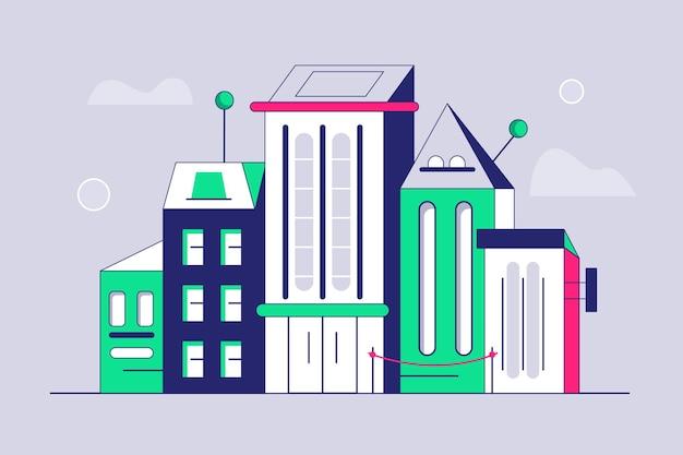 Rząd nowoczesnych budynków stojących razem
