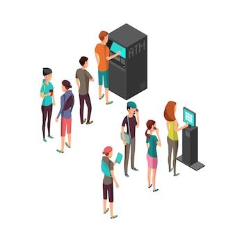 Rząd oczekujących ludzi w bankomatach i terminalu płatniczym.
