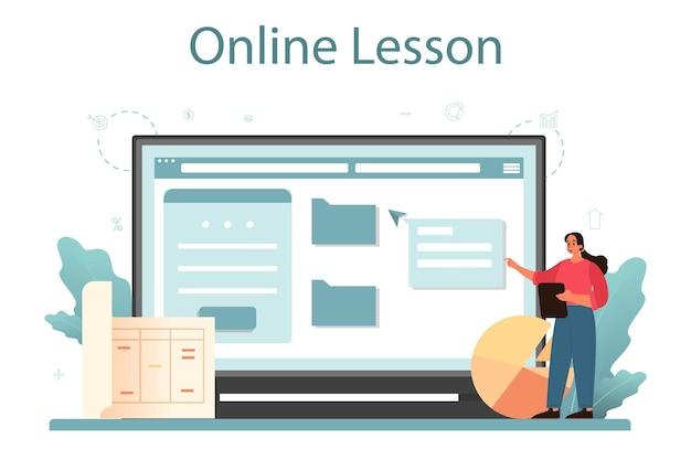Rzeczoznawca, doradca finansowy, usługa lub platforma online. usługi wyceny, wycena nieruchomości, sprzedaż i kupno. lekcja online.