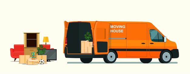 Rzeczy w pudełku w bagażniku furgonetki. przeprowadzka. ilustracja płaski.