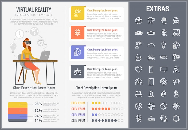 Rzeczywistość wirtualna infographic szablon i ikony ustawiać