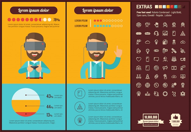 Rzeczywistość wirtualna płaska konstrukcja infographic szablon i ikony ustaw