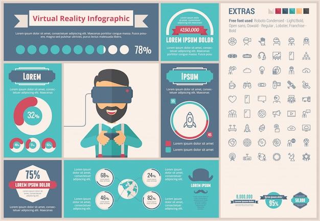Rzeczywistość wirtualna płaski projekt infographic szablon