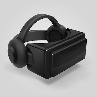 Rzeczywistość wirtualna wyświetlanie futurystycznych okularów 3d. vr kask wizjer na białym tle ilustracji wektorowych. kask