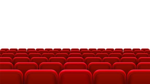 Rzędy czerwonych miejsc, widok z tyłu. puste miejsca w sali kinowej, kinie, teatrze, operze, imprezach, widowiskach. element wewnętrzny. realistyczna ilustracja 3d.