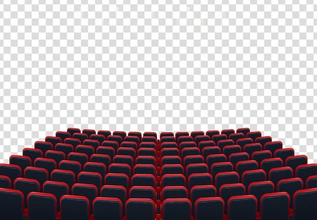Rzędy czerwonych siedzeń kina lub teatru przed przezroczystym tłem