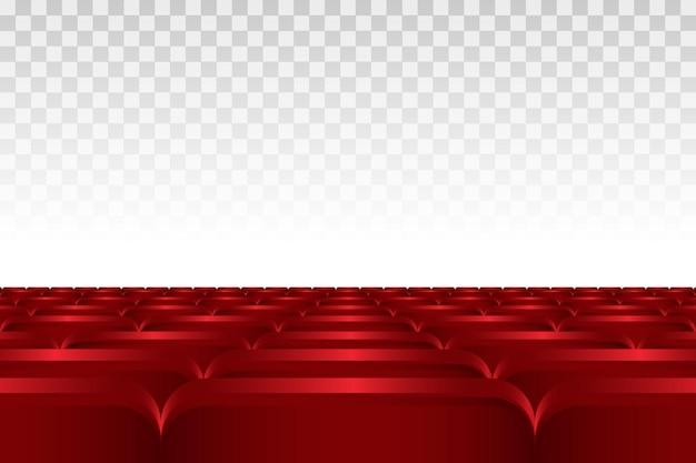 Rzędy czerwonych siedzeń kinowych lub teatralnych.