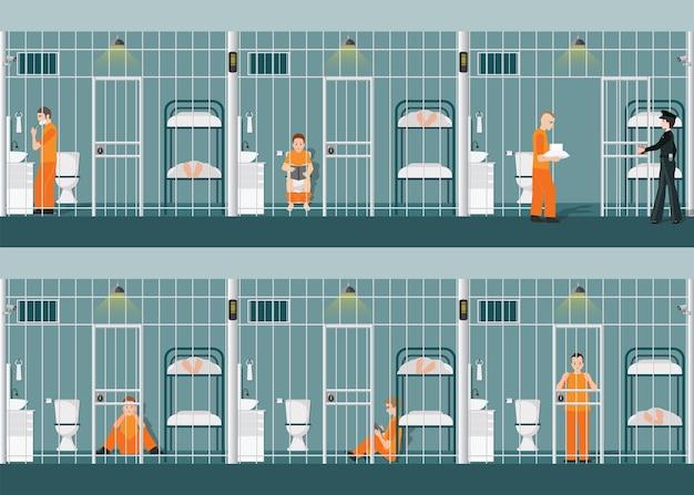 Rzędy więziennych komórek z życiem w więzieniu