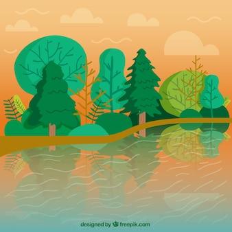 Rzeka krajobraz z zielonym tle drzew
