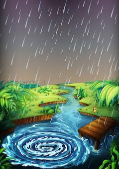 Rzeka scena z padającym deszczem