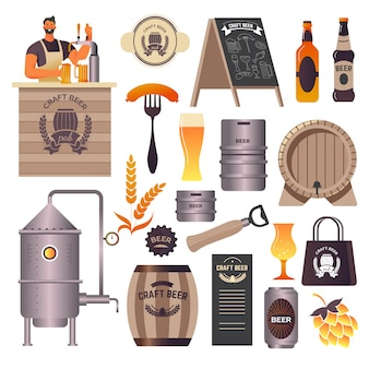 Rzemieślniczy pub piwny, browar i bar, nalewający napój barman