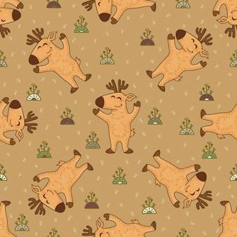 Rzemiosła doodle plemienny bezszwowy wzór z deers.