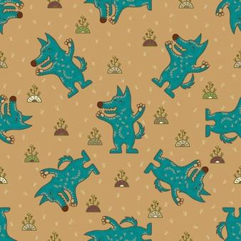 Rzemiosła doodle plemienny bezszwowy wzór z wolfs.