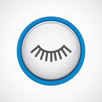 Rzęsy błyszczące z niebieską ikoną obrysu, koło, na białym tle