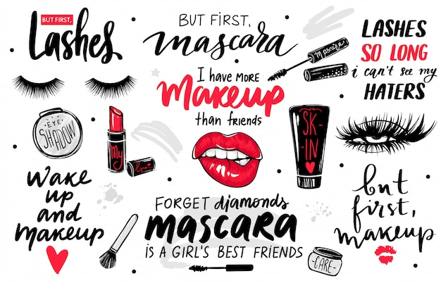 Rzęsy, tusz do rzęs, zestaw do makijażu z oczami, czerwonymi ustami, szminką, cieniem do powiek oraz cytatami lub frazami.