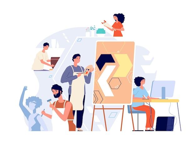 Rzeźbiarze i artyści. twórcy sztuki tworzący dzieła sztuki i rysujący. nowoczesne warsztaty dla dorosłych, kobieta mężczyzna w koncepcji studia malarstwa. sztuka rzeźbiarza, artysta-mężczyzna, ilustracja warsztatu malarza