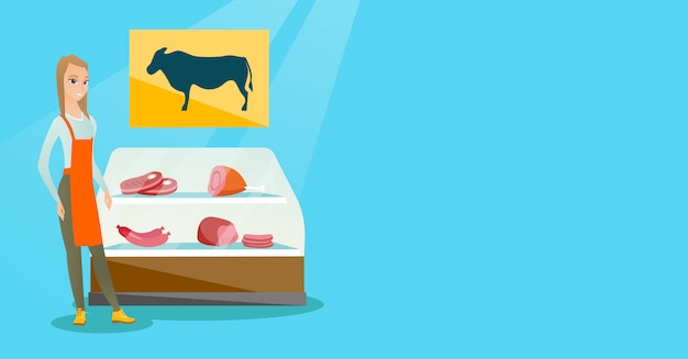 Rzeźnik oferujący świeże mięso w sklepie mięsnym.