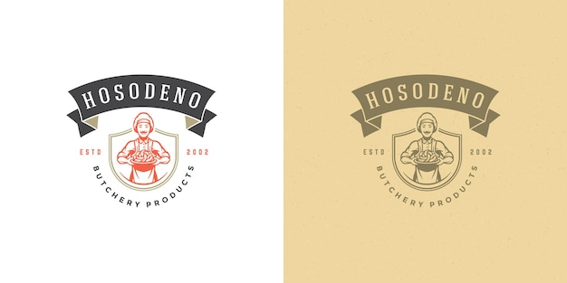 Rzeźnik projekt logo projekt szefa kuchni gospodarstwa kiełbaski sylwetka dobra dla restauracji