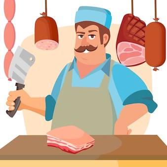 Rzeźnik z mięsem