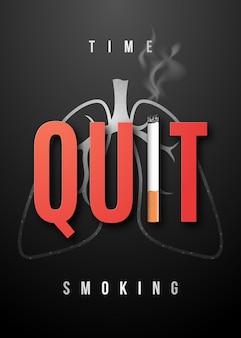 Rzuć palenie plakat z realistycznym papierosem