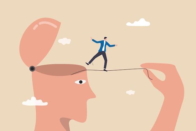 Rzuć sobie wyzwanie, przeciwności lub zmotywuj się do przezwyciężenia trudności, ćwiczenia lub samorozwoju, aby być koncepcją sukcesu, mężczyzna pociągnij za linę i pozwól sobie na spacer akrobatą, aby osiągnąć cel.