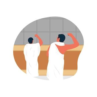 Rzucanie jumrah w dniu tasyrik jest jedną z praktyk w pielgrzymce wektor premium