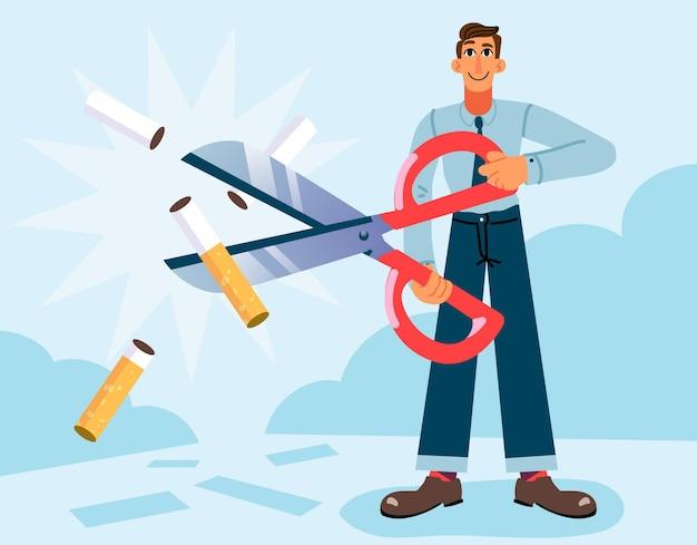 Rzucić palenie koncepcja mężczyzna cięcia papierosa