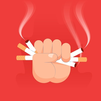 Rzucić palenie ręcznie rysowane projekt