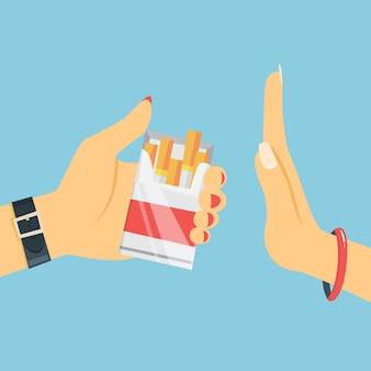 Rzucić palenie. ręka kobiety odmówić papierosa z pudełka. porzuć zły nawyk i odrzuć ofertę tytoniu. ilustracja