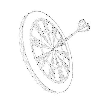 Rzutki celują i wbijają rzutkę w abstrakcyjne futurystyczne wielokątne czarne linie i kropki.