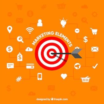 Rzutki tło z elementami marketingu