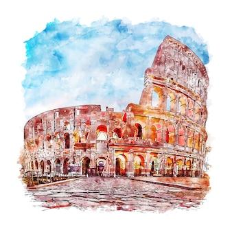 Rzym włochy szkic akwarela ręcznie rysowane ilustracja