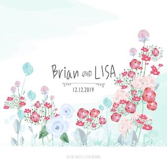 Słodka karta ślub kwiatowy w stylu przypominającym akwarele.