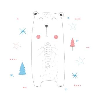 Słodka niedźwiedź gospodarstwa ryb.