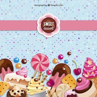 Słodki deser w tle