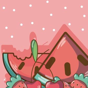 Słodkie owoce kreskówki