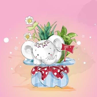 Słonie w kwiatowy dzień Bożego Narodzenia w doodle Akwarela.