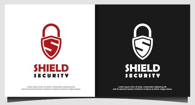 S alfabet kłódki symbol tarczy ochronnej dla ilustratora projektowania logo, ikona bezpieczeństwa