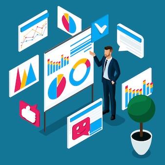 S biznesmen rozumie z notowaniami i wzrostem indeksów na giełdzie, traderem. koncepcja gry na giełdzie