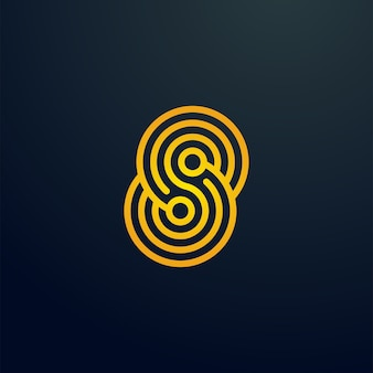S letter microchip electronic system spiral line logo
