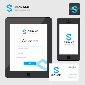 S logo, aplikacja internetowa i wizytówka