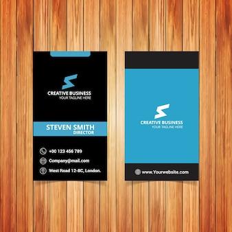 S logo list minimalna wizytówka korporacyjna o kolorze czarnym i niebieskim