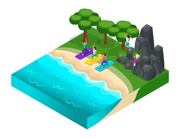 S rekreacja na świeżym powietrzu, skaliste, góry, kamienie, trawa, krajobraz, dziewczęta trenują na plaży nad morzem. zdrowy tryb życia