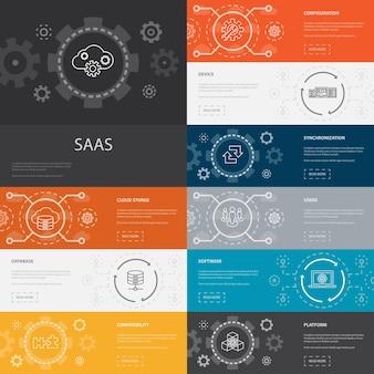 Saas infographic 10 linii ikon banners.cloud przechowywanie, konfiguracja, oprogramowanie, bazy danych proste ikony