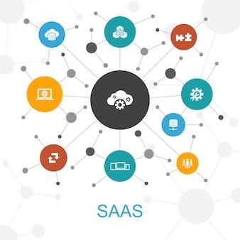 Saas modna koncepcja sieci web z ikonami. zawiera takie ikony jak. przechowywanie w chmurze, konfiguracja, oprogramowanie, baza danych