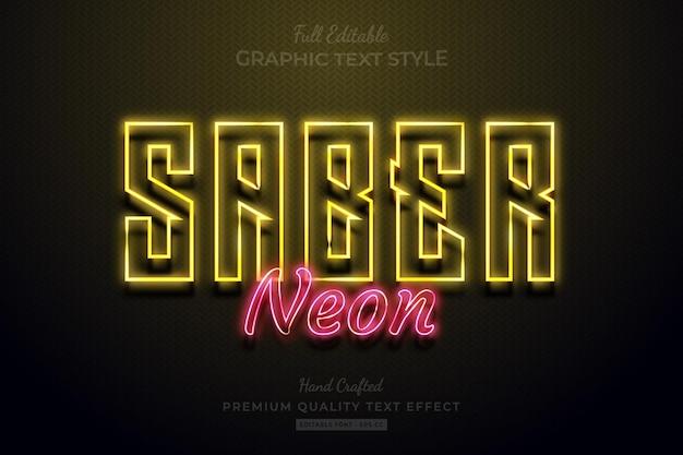 Sabre neon glow edytowalny styl czcionki premium text effect