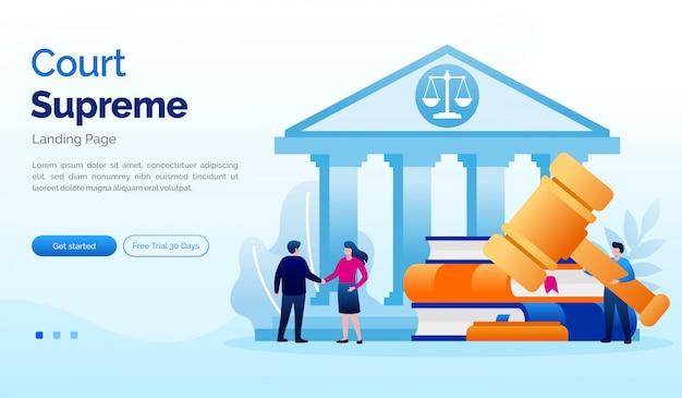 Sądowa najwyższa strona docelowa strony internetowej ilustracyjny płaski szablon