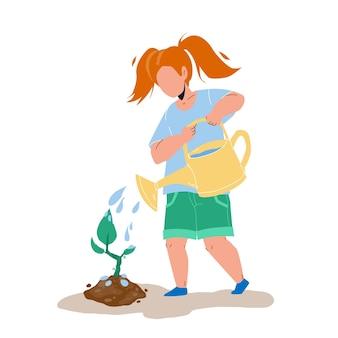 Sadzonka sadzenia i podlewania dziewczyna dziecko wektor. drzewo sapling opieki małe dziecko w ogrodzie. charakter sadzonka roślin, zawód ogrodniczy i ekologia środowisko płaskie ilustracja kreskówka