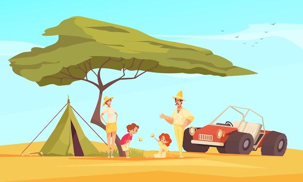 Safari jeepem podróżującym przygodami płaskiej kompozycji z rodziną przed namiotem pod baobabem